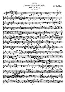 Струнный квартет No.65 ми-бемоль мажор, Hob.III/80 Op.76 No.6: Партия второй скрипки by Йозеф Гайдн