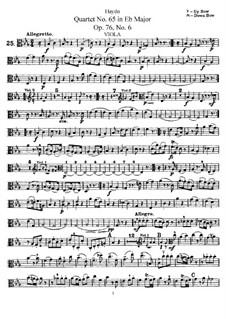 Струнный квартет No.65 ми-бемоль мажор, Hob.III/80 Op.76 No.6: Партия альта by Йозеф Гайдн