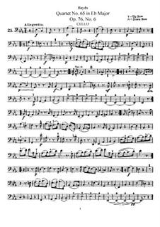 Струнный квартет No.65 ми-бемоль мажор, Hob.III/80 Op.76 No.6: Партия виолончели by Йозеф Гайдн