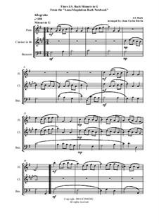 Избранные пьесы: Three Minuets, for woodwind trio (flute, clarinet, bassoon) by Иоганн Себастьян Бах