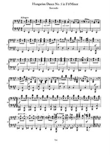 Танец No.5 фа-диез минор: Первая и вторая партии by Иоганнес Брамс