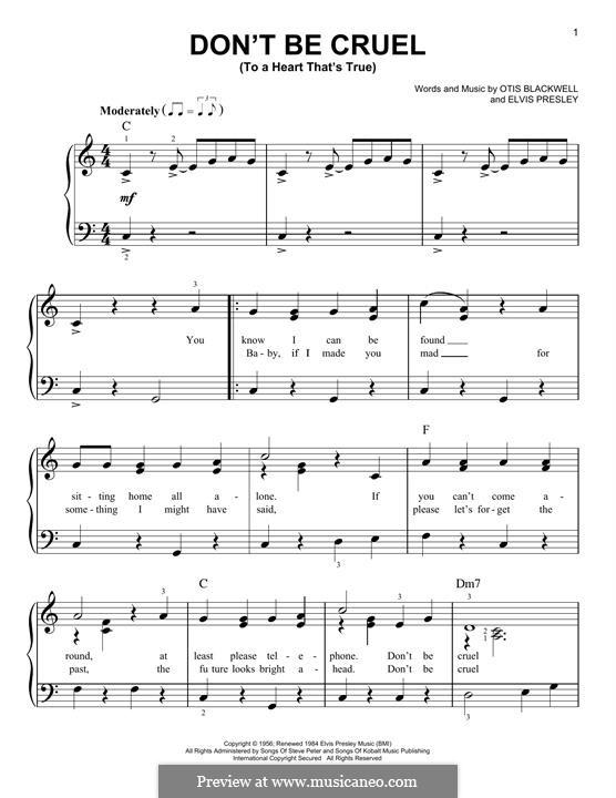 Don't Be Cruel: Для фортепиано by Elvis Presley, Otis Blackwell