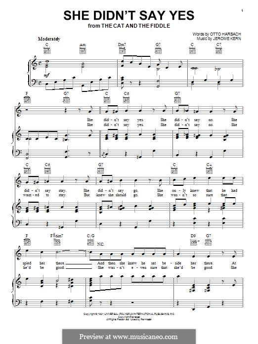 She didn't Say Yes: Для голоса и фортепиано (или гитары) by Джером Керн
