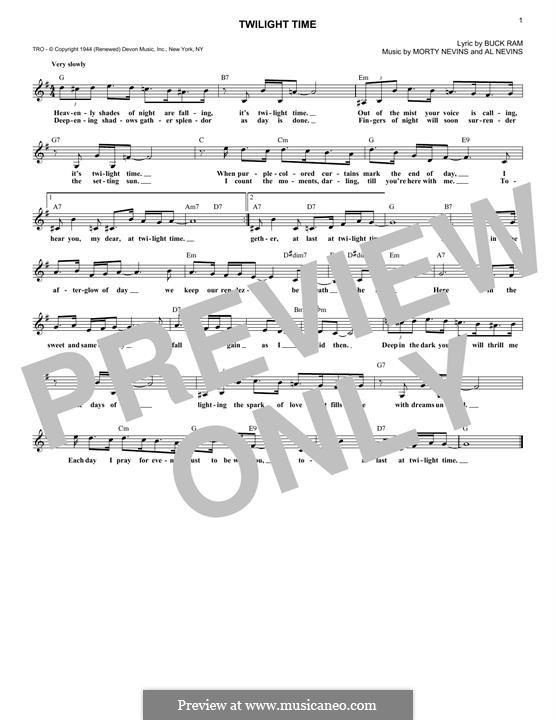Twilight Time (The Platters): Мелодия by Al Nevins, Buck Ram, Morty Nevins
