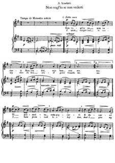 Non vogl'io se non vederti: Клавир с вокальной партией by Алессандро Скарлатти