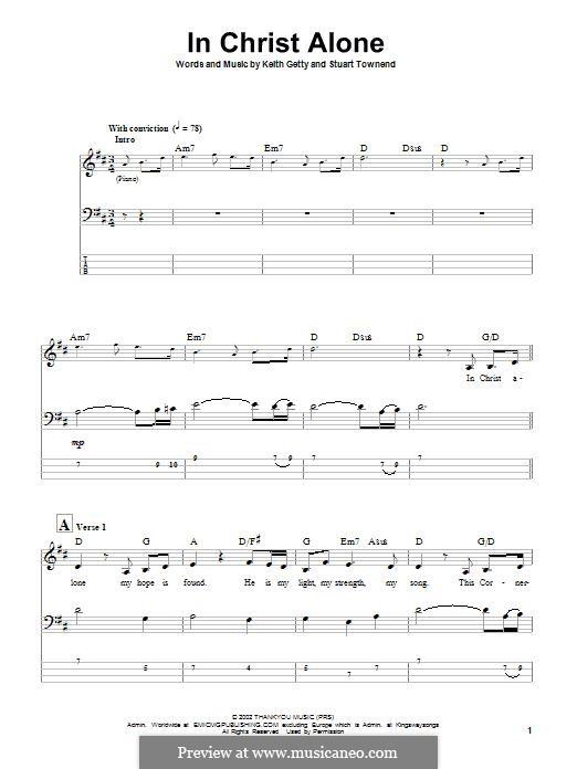 In Christ Alone (Newsboys): Для бас-гитары с табулатурой by Keith Getty, Stuart Townend