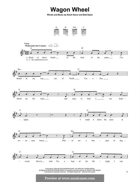 Wagon Wheel (Old Crow Medicine Show): Гитарная табулатура by Bob Dylan, Ketch Secor
