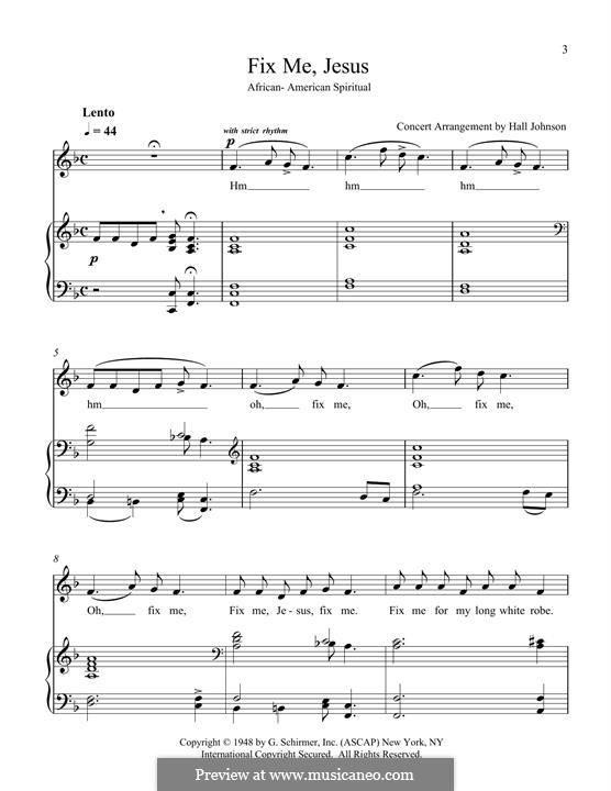 Fix Me Jesus: Для голоса и фортепиано by folklore