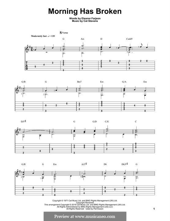 Morning Has Broken: Гитарная табулатура by Cat Stevens