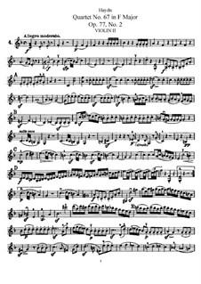Струнный квартет No.67 фа мажор, Hob.III/82 Op.77 No.2: Партия второй скрипки by Йозеф Гайдн