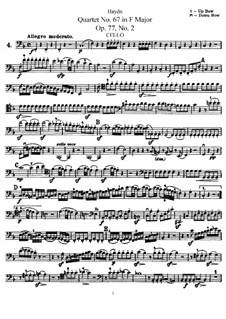 Струнный квартет No.67 фа мажор, Hob.III/82 Op.77 No.2: Партия виолончели by Йозеф Гайдн