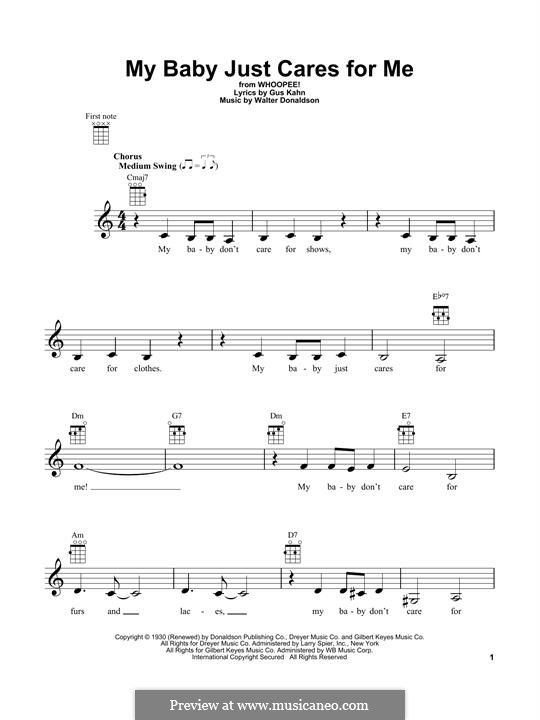 My Baby Just Cares for Me (Nina Simone): Для укулеле by Уолтер Дональдсон