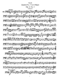 Струнный квартет No.7 ля мажор, Hob.III/7 Op.2 No.1: Партия виолончели by Йозеф Гайдн