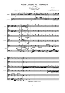Концерт для четырех скрипок и струнных No.1 ре мажор, RV 549: Arrangement for four violins and piano by Антонио Вивальди
