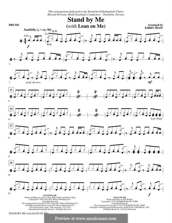 Stand By Me (with 'Lean On Me'): Drums part by Bill Withers