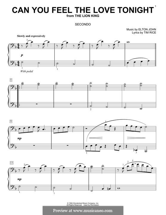 Can You Feel the Love Tonight (from The Lion King), for Piano: Version four hands by Elton John
