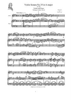 Соната для скрипки и фортепиано No.35 ля мажор, K.526: Score and part by Вольфганг Амадей Моцарт