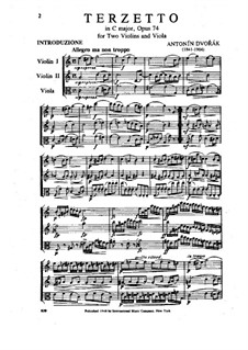 Терцет до мажор, B.148 Op.74: Партитура by Антонин Дворжак