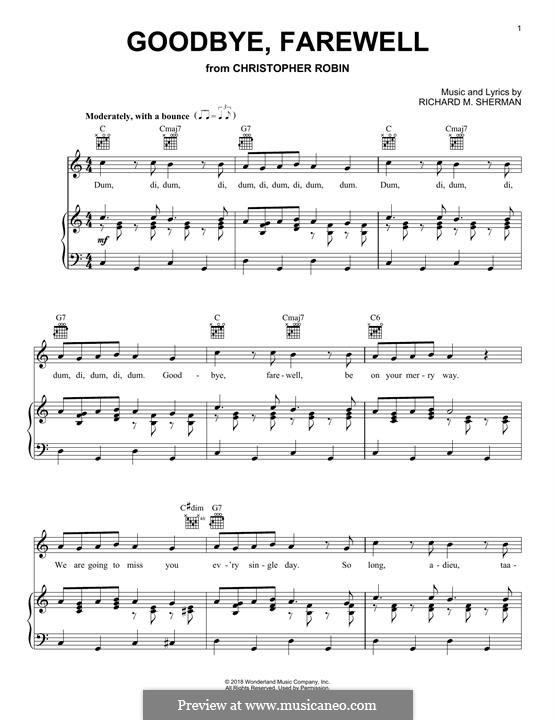 Goodbye, Farewell (from Christopher Robin): Для голоса и фортепиано (или гитары) by Richard M. Sherman