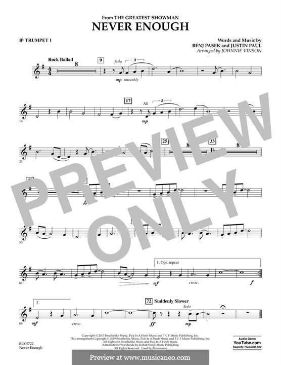 Never Enough (from The Greatest Showman): Bb trumpet 1 part by Justin Paul, Benj Pasek