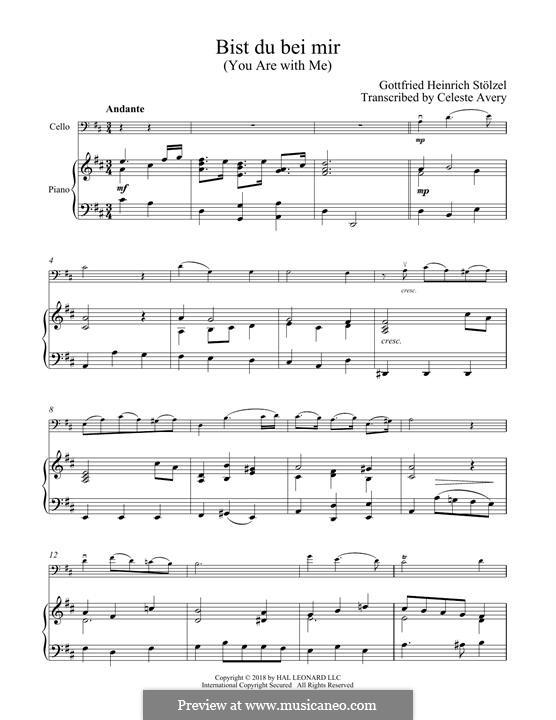 No.25 Bist du bei mir (You Are with Me), Printable scores: Для виолончели и фортепиано by Иоганн Себастьян Бах