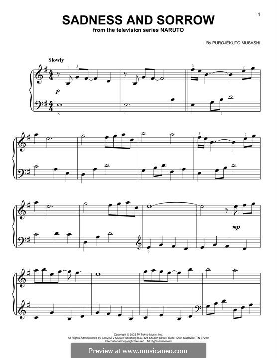 Sadness and Sorrow (from Naruto): Для фортепиано by Purojekuto Musashi