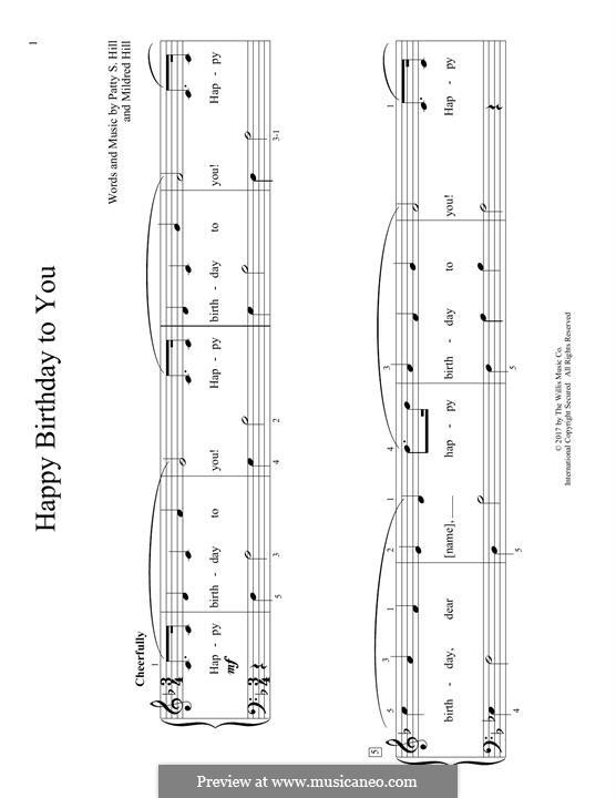 С днем рождения тебя: Для фортепиано by Милдред  Хилл