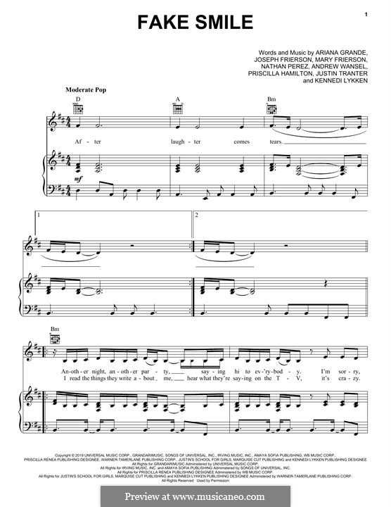 Fake Smile: Для голоса и фортепиано (или гитары) by Joseph Frierson, Mary Frierson, Andrew Wansel, Nathan Perez, Ariana Grande