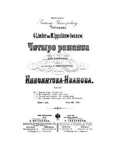 Четыре романса для баритона для фортепиано, Op.31: Четыре романса для баритона для фортепиано by Михаил Ипполитов-Иванов
