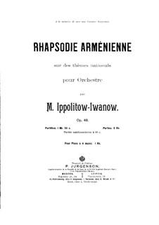Армянская рапсодия, Op.48: Для фортепиано в 4 руки by Михаил Ипполитов-Иванов