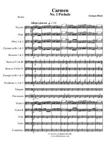 Первая сюита: Prelude, for full orchestra by Жорж Бизе