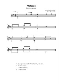 Matarile: For guitar solo (D Major) by folklore