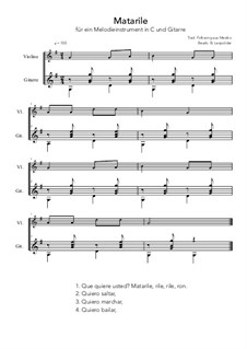 Matarile: For melody instrument and guitar (G Major) by folklore