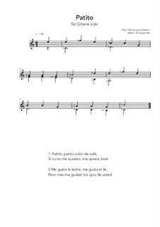 Patito: For guitar solo (C Major) by folklore