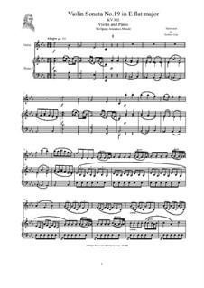 Соната для скрипки и фортепиано No.19 ми-бемоль мажор, K.302: Партитура, сольная партия by Вольфганг Амадей Моцарт