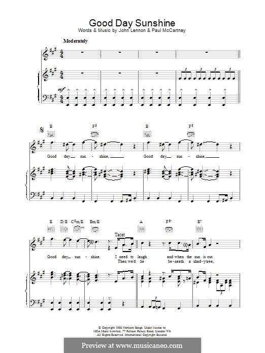 Good Day Sunshine (The Beatles): Для голоса и фортепиано by John Lennon, Paul McCartney