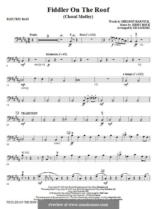 Fiddler on the Roof: Electric Bass part by Jerry Bock