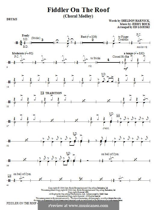 Fiddler on the Roof: Drums part by Jerry Bock