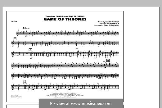 Game of Thrones (arr. Jay Bocook): F Horn part by Ramin Djawadi