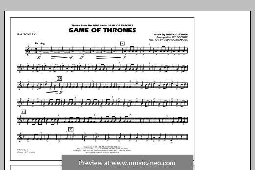 Game of Thrones (arr. Jay Bocook): Baritone T.C. part by Ramin Djawadi
