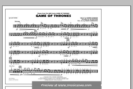 Game of Thrones (arr. Jay Bocook): Quad Toms part by Ramin Djawadi