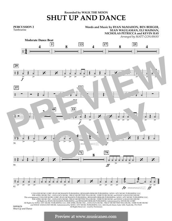 Shut Up and Dance (Walk the Moon): Percussion 2 part (arr. Matt Conaway) by Nicholas Petricca, Ryan McMahon, Eli Maiman, Ben Berger, Sean Waugaman