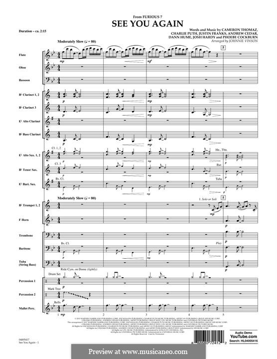 See You Again (Wiz Khalifa feat. Charlie Puth): Conductor score (full score) arr. Johnnie Vinson by Justin Franks, Wiz Khalifa, Andrew Cedar, Charlie Puth
