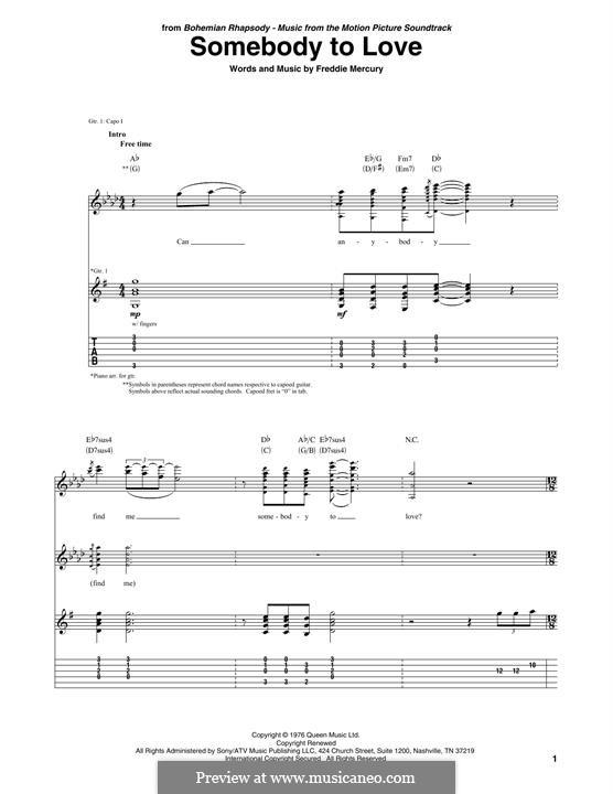 Somebody to Love (Queen): Гитарная табулатура by Freddie Mercury