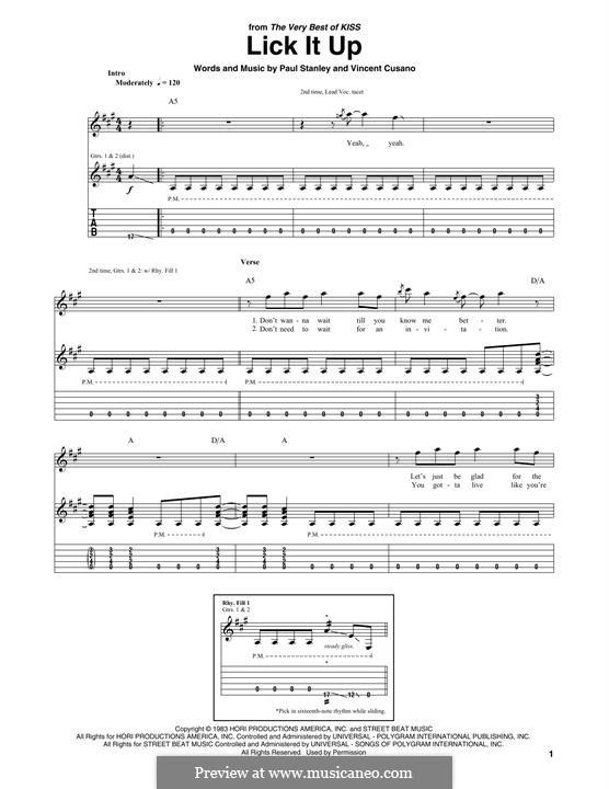 Lick It Up (Kiss): Гитарная табулатура by Paul Stanley, Vinnie Vincent