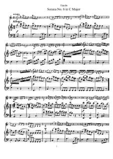 Соната No.6 до мажор: Партитура by Йозеф Гайдн
