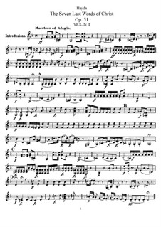 Семь последних слов Христа на кресте, Hob.III/50-56 Op.51: Партия второй скрипки by Йозеф Гайдн
