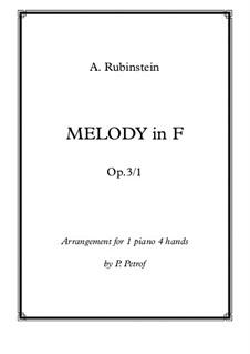 Две мелодии, Op.3: Melody No.1, for piano four hands by Антон Рубинштейн