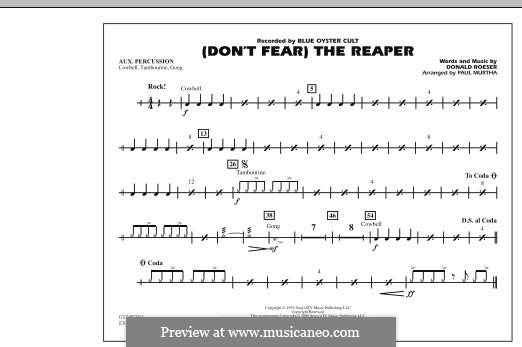 Don't Fear / The Reaper (Blue Oyster Cult): Aux Percussion part (arr. Paul Murtha) by Donald Roeser