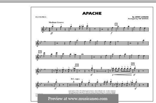 Apache (The Shadows): Flute/Piccolo part by Jerry Lordan
